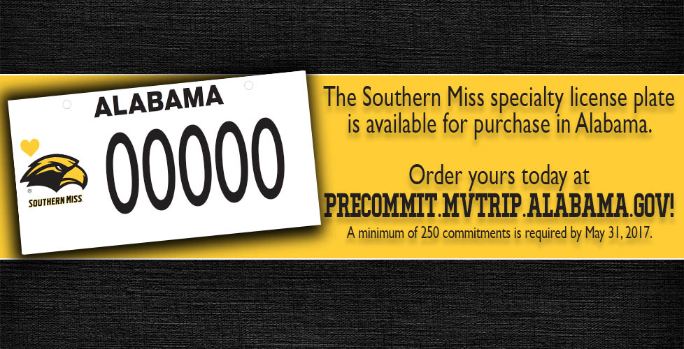 Southern Miss Alabama License Plate